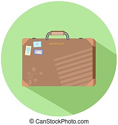 Business retro suitcase vector illustration in flat style