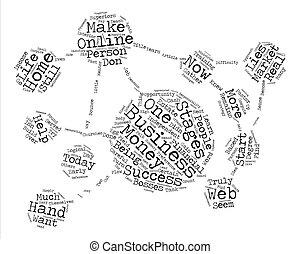 business, reussite, à, ton, bouts doigt, texte, fond, mot, nuage, concept