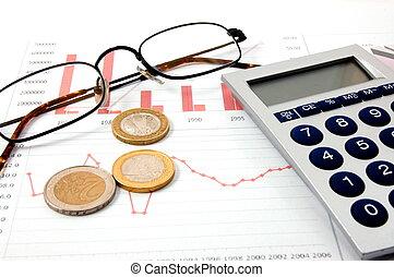 business, reussite, argent, sur, diagramme, spectacles