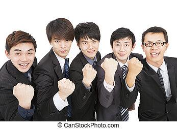 business, reussite, asiatique, équipe, geste, heureux