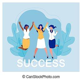 business, reussite, célébrer, équipe, femmes affaires, réussi