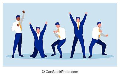 business, reussite, célébrer, hommes affaires, équipe, réussi