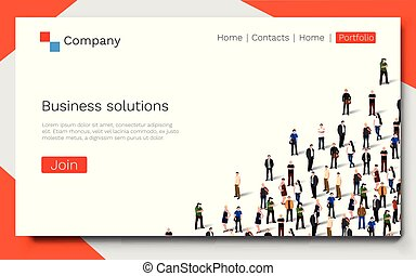 business, reussite, concept., atterrissage, solutions., collaboration, page