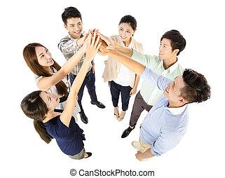 business, reussite, jeune, équipe, geste, heureux