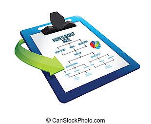 business, reussite, main écrite, presse-papiers, modèle