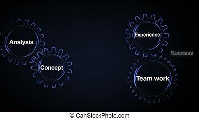 'business, reussite, travail, engrenage, mot clé, concept, écran, expérience, plan', analyse, toucher, homme affaires, équipe