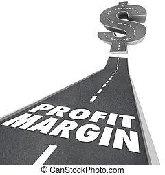 business, revenu, profit, argent, compagnie, gagné, trottoir, noir, mots, revenu, levée, filet, augmenter, marge, ou, route, illustrer