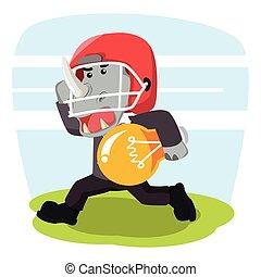 business rhino with football helmet carry bulb