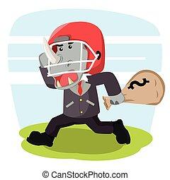 business rhino with football helmet carrying money shack