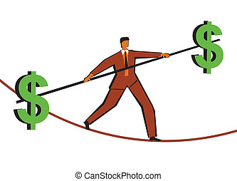 business risk - Businessman walking on a tightrope with a...