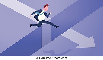 Business Risk Concept With Businessman Jumping Over Gap On Arrow Chart