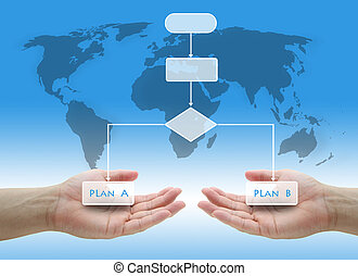 Business Risk Plan Concept - Decision Tree Diagram in Hand...