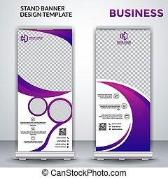 Business roll up banner design - vector