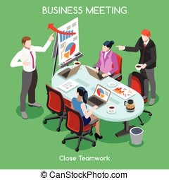Business Room People Isometric - Flat 3d isometric Startup...