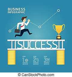 business run to success concept / can be used for infographics / horizontal cutout lines / graphic or website layout vector