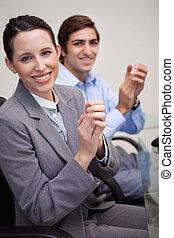 business, séance, applaudir, bureau, quoique, équipe, vue côté