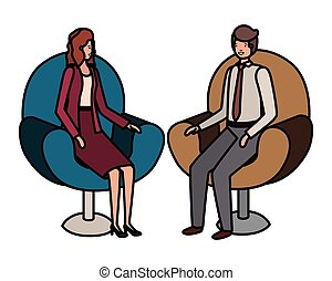 business, séance, couple, caractère, avatar, chaise