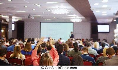 business, séance, gens, regarder, conference., présentation, salle