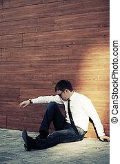 business, séance, mur, jeune, dépression, homme