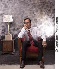business, séance, sofa, figure, bois, sérieux, homme