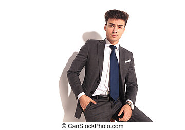 business, séance, une, poche, chaise, main, homme