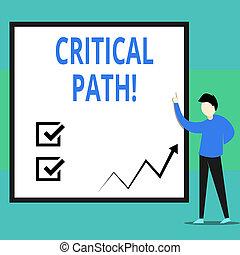 business, séquence, photo, projection, path., écriture, projet, time., critique, plus longtemps, main, texte, conceptuel, étapes, exiger