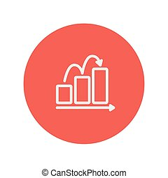 Business sales increase thin line icon for web and mobile minimalistic flat design. Vector white icon inside the red circle.