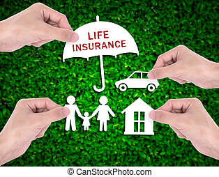 business salesman agent hand holding home car family concept assurance health-care insurance.