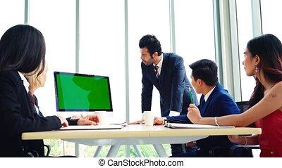 business, salle, conférence, gens, écran, vert