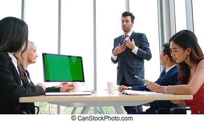 business, salle, gens, vert, conférence, écran