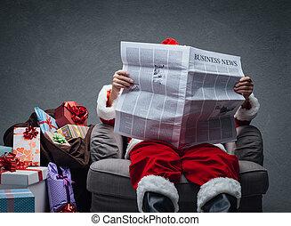 business, santa, nouvelles, claus, lecture