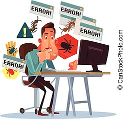 Business scary depressed man character with broken computer. Error window. Dangerous computer virus. Cyber fraud. Vector flat cartoon illustration