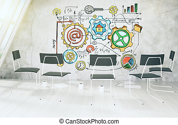Business scheme concept on concrete wall in light room with chairs