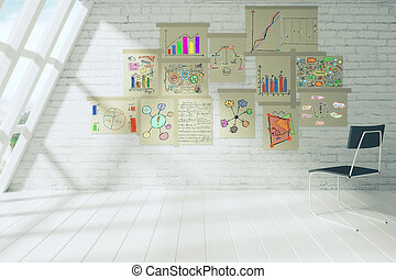 Business scheme concept on paper posters on brick wall in white room with chair