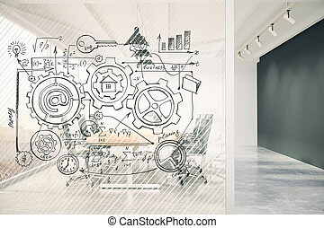 Business scheme concept on transparent wall in conference room with blackboard