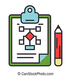 Business scheme, marketing plan, management, clipboard concept. Line vector icon. Editable stroke. Flat linear illustration isolated on white background