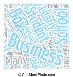 business school in a box 1 text background wordcloud concept