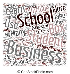 business school in a box text background wordcloud concept