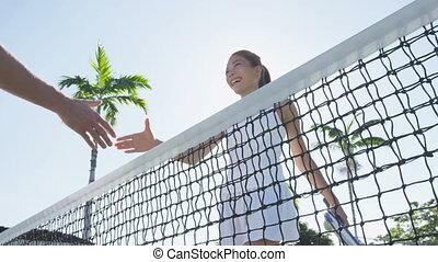 business, secousse, -, après, poignée main, partenaires, mains, tennis jouant