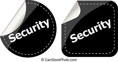 business security black stickers label tag set