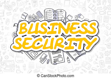 Business Security - Doodle Yellow Word. Business Concept.