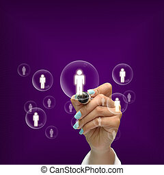 Business selection concept by black pen in hand on purple gradient background.