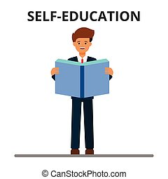 Business self-education. Man reading book. Businessman learning, personal development, professional development, growth. Flat style vector illustration isolated on white background.