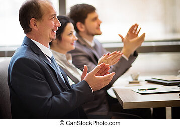 . Business seminar concept - Close-up of business people...
