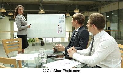 Business seminar - Businesswoman explaining marketing...