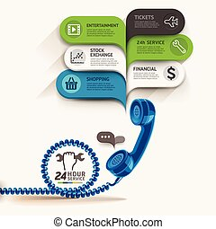 Business service icon and telephone