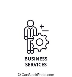 business services line icon, outline sign, linear symbol, vector, flat illustration