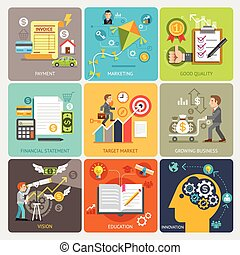 business set icons - Flat icons design concept template....