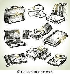 business, set., illustrations, main, dessiné