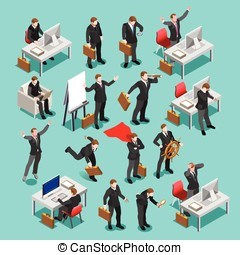 Business Set Isometric People